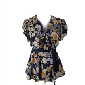 Anna Sui for Anthropologie Silk Wrap Blouse